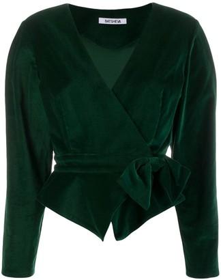 Batsheva Velvet Wrap Cropped Blazer