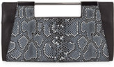 Halston Mosaic Python-Embossed Leather Clutch Bag, Black Multi