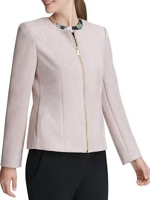 Donna Karan Faux-Suede Zip Front Jacket