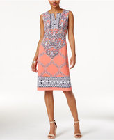 JM Collection Printed Split-Neck Sheath Dress, Only at Macy's
