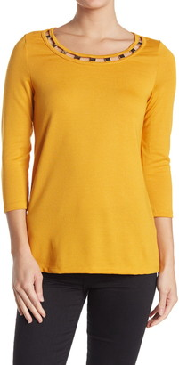 Love by Design Captiva Embellished Crew Neck 3/4 Sleeve Top