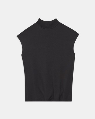Theory Ribbed Neck Top in Silk Jersey