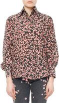 Isabel Marant Salina Floral Pansy-Print Silk Shirt