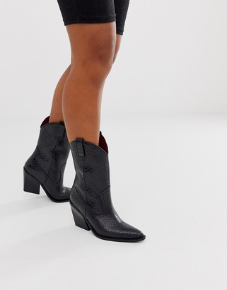Bronx black leather python embossed mid calf western boots