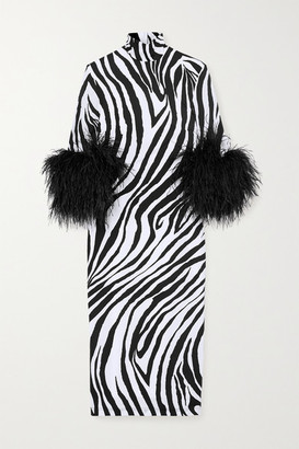 Halpern Feather-trimmed Zebra-print Stretch-satin Dress - Black