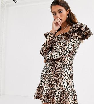 House Of Stars bodycon mini dress in velvet leopard with square neck