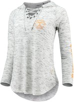 Unbranded Women's Pressbox Heathered Gray Tennessee Volunteers Kate Space Dye Lace-Up Long Sleeve T-Shirt