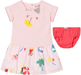 Catimini Pink Jersey and Printed Woven Dress and Knickers