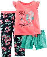 Carter's 3-pc. Seahorse Pajama Set - Baby Girls 12m-24m