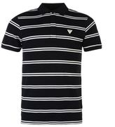 Soviet Mens Double Stripe Polo Shirt Cotton Pattern Short Sleeve Collar Neck Top