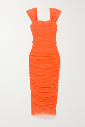 Dolce & Gabbana Ruched Cotton-blend Tulle Midi Dress - Orange