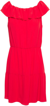 RED Valentino Off-the-shoulder Ruffle-trimmed Crepe Mini Dress