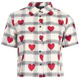 Topshop Crop heart check shirt