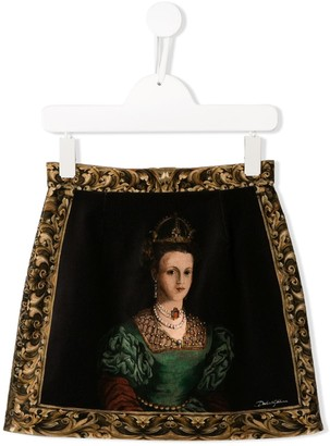 Dolce & Gabbana Kids Portrait Print Mini Skirt