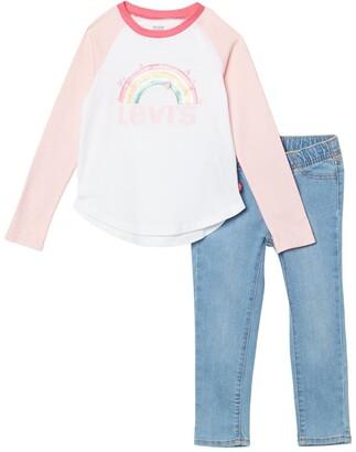 Levi's Rainbow Raglan Top & Skinny Jeans Set