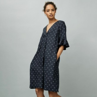 The White Company Linen Printed Dress, Navy, 14