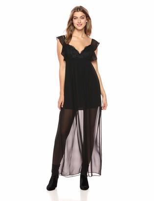 BCBGeneration Women's Flutter Sleeve LACE Bodice Maxi Dress