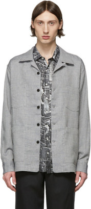 Schnaydermans Blue and Grey Linen Boxy Overshirt Jacket