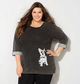 Avenue Sequin Bulldog Active Sweatshirt