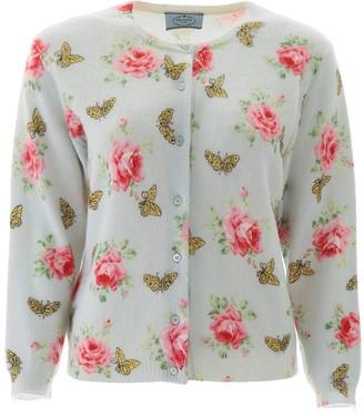 Prada Floral Butterfly Jacquard Cardigan