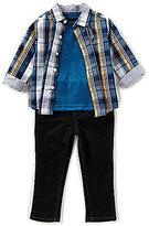Nautica Baby Boys 12-24 Months Plaid Button-Down Shirt, Tee, & Pants 3-Piece Set
