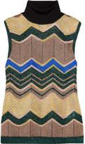 Missoni Metallic Crochet-knit Turtleneck Top - Camel