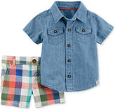 Carter's 2-Pc. Cotton Chambray Shirt & Shorts Set, Baby Boys