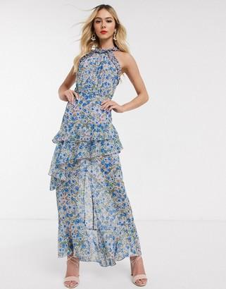 Dark Pink high neck maxi dress in blue floral
