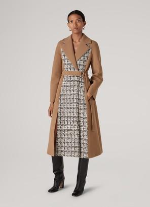St. John Wool Crepe Contrast Tweed Trench Coat