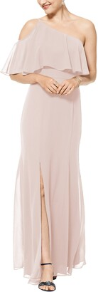 #Levkoff One-Shoulder Chiffon A-Line Gown