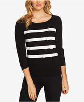 CeCe Cotton Striped Bow-Trim Sweater