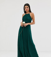 Asos Tall DESIGN Tall Bridesmaid pinny maxi dress with ruched bodice