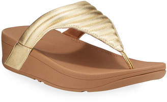 FitFlop Lottie Quilted Metallic Leather Thong Sandals