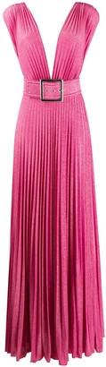 Elisabetta Franchi Plunge-Neck Pleated Metallic Gown
