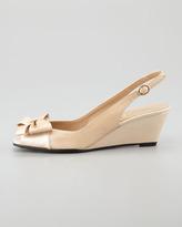 Sesto Meucci Fran Patent Peep-Toe Slingback with Bow, Beige