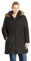 Jessica Simpson Women's Plus-Size Mid-Length Diamond-Quilted Down Coat