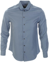 Armani Collezioni Houndstooth Check Shirt Blue