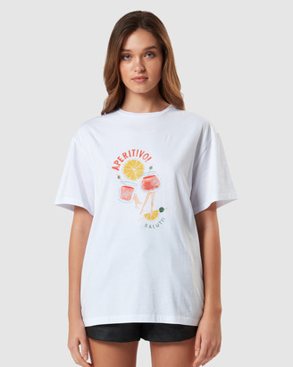 Charlie Holiday Women's White Shorts - Apertivo Boyfriend Tee - Size One Size, L at The Iconic