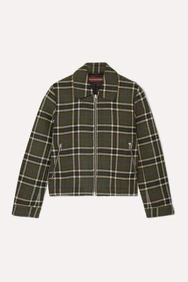ALEXACHUNG Cropped Plaid Twill Jacket - Army green