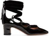 Valentino Garavani Valentino Black Patent & Velvet Ghillie Heels
