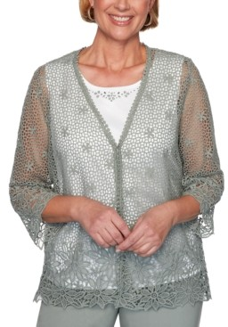 Alfred Dunner Plus Size Chesapeake Bay Crochet Layered-Look Sweater