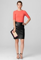 Milly Black Skirts - Leather Pencil Skirt