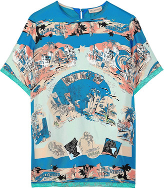 Emilio Pucci Lace-trimmed Printed Silk-twill T-shirt