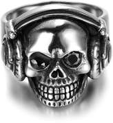 TIANYI Stainless Steel Gothic Music Headset Skull Biker Mens Ring With Black CZ Size 9