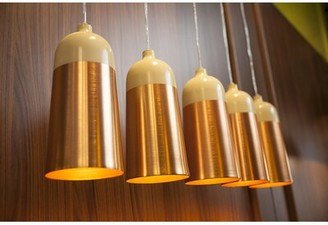 "Innermost 1 - Light Single Bell Pendant Size: 11.8"" H x 5.5"" W x 5.5"" D, Color: Cream / Copper"