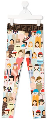 Fendi Family Print Leggings