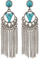 Cara Accessories Turquoise Chain Fringe Dangle Earrings