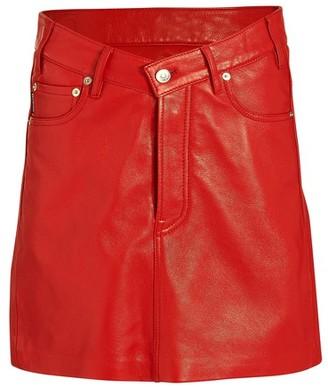 Balenciaga V-neck leather skirt