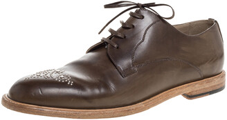Dolce & Gabbana Olive Green Leather Studded Lace Up Derby Size 44