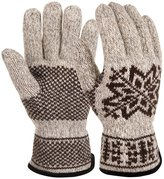 Vbiger Winter Warm Knit Gloves Windproof Mittens for Men Suitable for Outdoor Activities